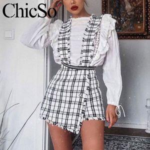 MissyChilli Plaid cintura alta tweed skort saia Mulheres botão fino franja mini-cinta saia Feminino sexy borla partido do clube