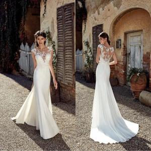 2019 Nueva Playa de la vendimia vestidos de boda de la sirena del cordón atractivo apliques cuello escarpado de la longitud del piso de Bohemia más el tamaño de vestidos de boda de novia BC0833