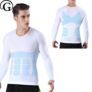 Belly PRAYGER Homens Slimming Boobs Controle Shaper Top mangas corpo quente Tummy Trimmer Shirt Underwear Compression Ginecomastia
