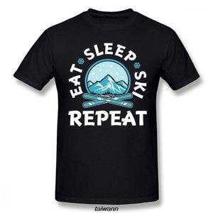 Anime Eat Sleep Ski Répétition T Hommes Col rond organique T-shirt d'été respirant T-shirt T-shirts à la mode
