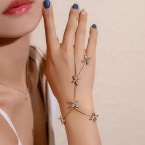 Criativo Moda Trendy Slave anel pulseira palma da mão Pulseira Conectado dedo anelar zircão Vine Leaf cadeia pulseira com anel