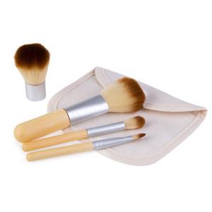 4 Adet = 1 takım Fırçalar Kiti Ahşap Makyaj Fırçalar Güzel Profesyonel Bambu Ayrıntılı Çul Çanta ile Makyaj Fırça Araçları DHL