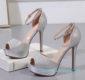 12см Элегантные невесты серебряные золотые каблуки горный хрусталь свадебные туфли моды роскошь дизайнер женской обуви размер 34 до 39 06S