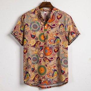 Mens Этнический льняные вскользь Камиза Masculina Printed Бич Рубашки с коротким рукавом Одежда Гавайская рубашка Азиатский размер 3XL