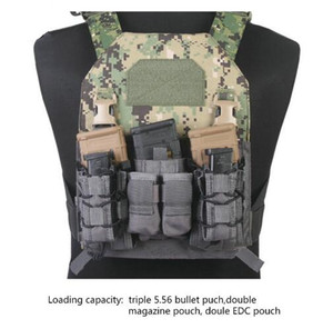 Emerson tactical 9mm 5.56 Magazine Pouch Mag Pouch Hook and Loop Modular Assaulters Panel for Plate Carrier Triple Open Top 1 inch Buckle