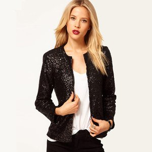 Ms. suit jacket Europe BLINGBLING New Sequined Long-sleeved Jacket Dark Buckle Round Neck Small Suit
