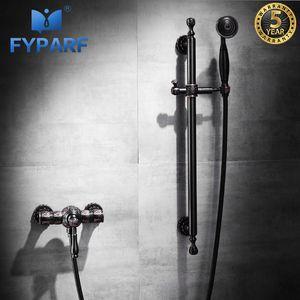 FYPARF Lüks Küvet Musluklar Yağ ovuşturdu Bronz Banyo Küvet Mikser Musluk El Küvet Bataryası Duvar Monteli Duş Bataryası