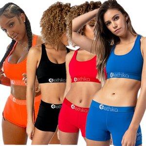 Trendy costume da bagno femminile solido di colore della tuta senza maniche Vest Crop top + shorts insieme delle 2 parti abiti estivi Lettera Desiger Swimwear Biniki Suit