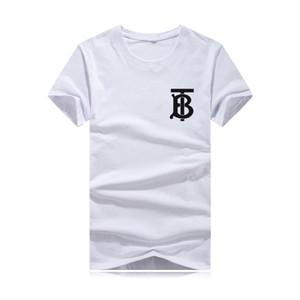 Nuevo Mens B Designer T Shirt Cuello redondo 2019 Camiseta de moda de verano Camiseta masculina Tops de algodón Estampado de algodón negro ropa de alta calidad