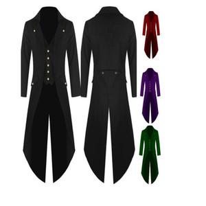 La capa de foso de los hombres de la nueva manera de Steampunk de la vendimia Tailcoat Chaqueta gótica levita de los hombres de un solo pecho Ligera larga