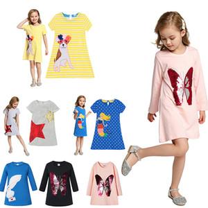 Crianças Long Short Sleeve vestido colorido Padrão lantejoulas borboleta Frock Crianças Primavera listra roupa ocasional dos desenhos animados Coruja apliques Outfits