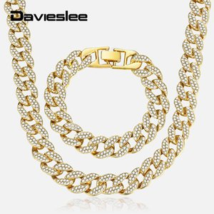 Davieslee Hip Pop Set di gioielli da uomo Iced Out Gold Miami Curb Cuban Bracciale a catena Set collana per uomo Dropshipping 2019 LGS286 C19011501