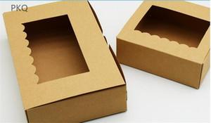 30 stücke Kraftpapier Verpackung Box 4/6 loch Papier Cupcake Box Backkarton Kraft Boxen mit klarem fenster Cookies Geschenk