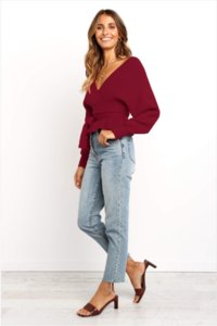 NEW 2020 EUROPEAN AND AMERICAN STYLE V-NECK SEXY BATWING SLEEVE HAVE A WAIST AND HOLLOW OUT IN BACK 3COLOURS S-2XL SWEATERS FREE SHIPPING