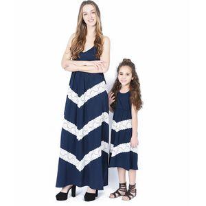 2019 Nueva hija de la madre del padre-niño de la manera vestido de algodón de vacaciones cómodo vestido largo