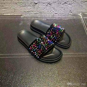 2017 New Mens Flip Flop Fashion Red Bottom Causal Flat Genuine Leather Sandals Summer Outdoor Beach Slide Sandals Slippers EUR 39-46