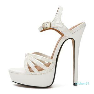 SDTRFT PLUS:45 46 47 48 Women Party Sandals 2020 Summer Elegant 16cm thin High Heels Mujer Dress Shoes Peep Toe Buckle RED pumps l25