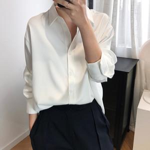 Sherhure 2020 New Verão Mulheres Blusas Design de Moda cetim de seda das mulheres tops e blusas das senhoras Camisa Blusas Roupa Feminina