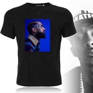Manga curta Moda Designer Mens chefe TShirts preto liso Retrato camiseta Rapper Nipsey Hussle Souvenir Crenshaw