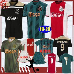 19/20 Thai New Ajax Futebol 9 HUNTELAAR 10 TADIC 6 VAN DE BEEK 22 ZIYECH 25 Dolberg Bordado Men + Kits de Futebol