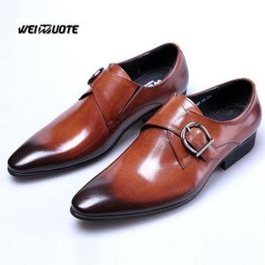 WEINUOTE Men Fashion Business Leather Oxfords Shoes Mens Wedding Dress Shoes  Pointed toe Casual Formal