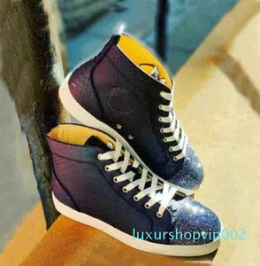 Dark-blue Calf Snake Leather+Rhinestone Toe Strass Sneakers Red Bottom Sneaker Shoes High Top Boots Mens Sneake Trainers High Quality