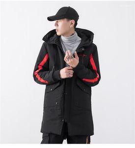 Parkas Moda Çizgili Kasetli Kalın Kış Ceket Big Cep Uzun Kollu Casual Giyim Tasarımcı Nakış Mens