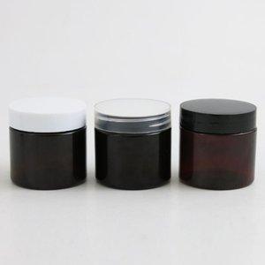 garrafa Jar 30pcs Dark Brown Âmbar Plástico redondo creme loção com tampa de rosca branca preta 2 onças Cosmetic Sample Containers 60g 60ml