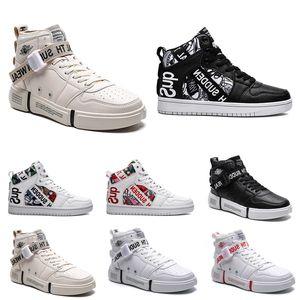 2020 No-Marca Hombres 1 Negro Utilidad blanco clásico de las mujeres calzados informales Skateboarding altos ENTRENADORES tamaño de las zapatillas de deporte 36-44 Deportes artículo # 1811