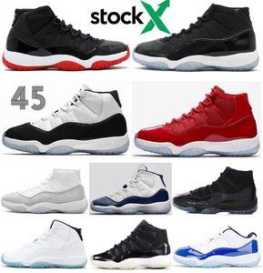 Yüksek Kaliteli 11 Bred Space Jam Concord Metalik Gümüş Basketbol ayakkabı erkekler Kadınlar 11'ler Şapkanız Gym Kırmızı 72-10 Sneakers ile Kutusu