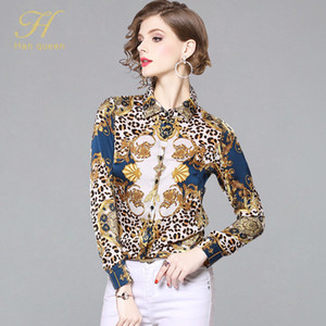 H Han Queen новое прибытие печатных Blusa Feminina рубашка женщины шифон блузка старинные работы повседневная топы офис блузки
