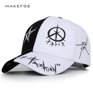Black and white color matching five-pointed star graffiti baseball cap student youth male and female sun hat season cap