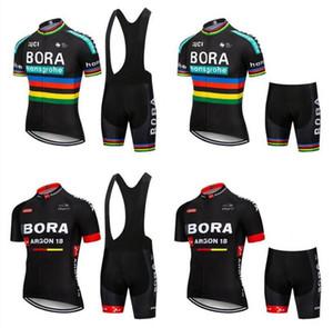 BORA 2019 hombres ropa de verano ropa de ciclo kits de manga corta transpirable pantalones cortos babero conjunto maillot ciclismo (BIB) de los cortocircuitos de los hombres