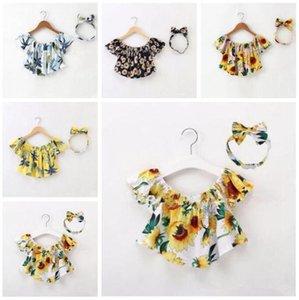 Neonate vestiti girasoli Bambino Bambini fuori dalla spalla Ruffle parti superiori floreali camicetta fascia delle ragazze di estate prendisole Outfits Abbigliamento DYP967