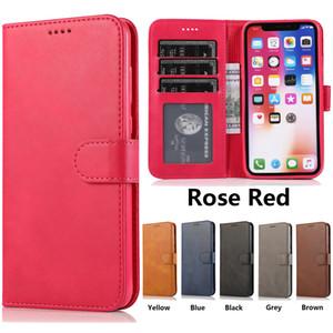 Case Wallet couleur unie pour iPhone 11 Pro X XR XS Max 6 7 8 Plus Samsung Galaxy Note 10