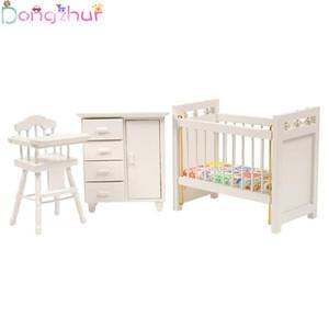 1:12 кукольный домик миниатюры деревянная кроватка детская кровать стул кабинет DIY Кукольный дом спальня мебель аксессуары дети DIY игрушки
