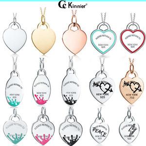 Bijoux originaux argent 925 réel amour pendentif coeur Collier avec chaîne luxe cadeau de mariage Colliers