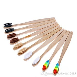 Natural Bamboo Handle Toothbrush Rainbow Colorful Whitening Soft Bristles Bamboo Toothbrush Eco-friendly Oral Care DLH094