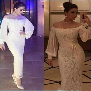Hot Sexy Arabic Lace Prom Dresses Sheath Evening Party Dresses With Sash Off Shoulder Long Puffy Sleeves Ankle Length Formal Gowns