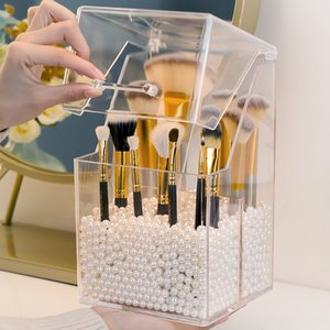 Multistyle PS Acrylic Makeup Organizer Cosmetic Holder Makeup Tools Storage Pearls Box Brush Accessory Home Storage & Organization Housekeep