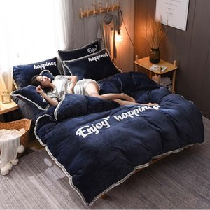 Sl905023 Comfortable Velvet Bedding Set Coral Fleece Velvet Quilt Cover Double-faced Flannel Duvet Cover Set 4pcs set