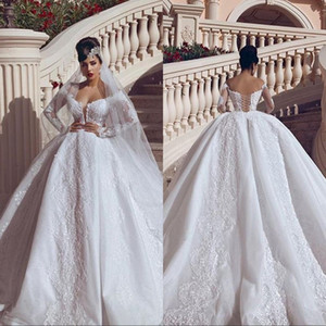 OFF Плечо Кружева Аппликации A-Line Свадебные платья 2019 Роскошные бисеры свадебные платья Принцесса Длинные рукава Vestidos de Mariee Plus Размер