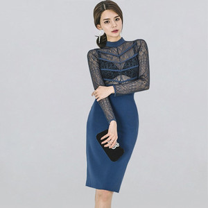Frauen-elegante reizvolle Spitze Bodycon Vestidos 2020 Frühling aushöhlen durchschauen Enges Kleid Patchwork dünne Etuikleid