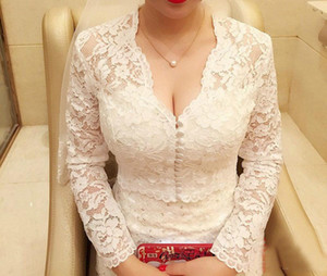 Elegant White Ivory 2019 Lace Bridal Jackets Cheap Boleros Long Sleeve Buttons Wedding Bride Wraps Shrug Custom Plus Size