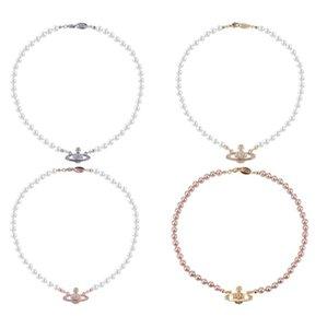 NOUVEAU! marque à la mode collier femme occidentale Reine Mère Vivienne Vivienne Saturn collier de perles Clavicule chaîne Punk Atmosphère VN210031