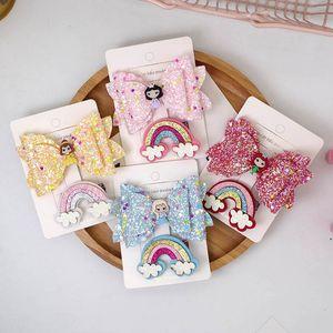 Fashion 2pcs set rainbow girls barrettes sequin hair bows girls hair clips princess baby BB clips designer kids hair accessories B1414