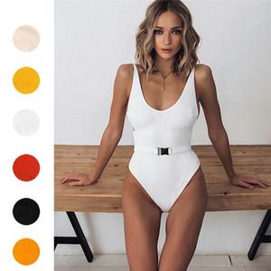 sexy Sólidos Irregular Bikini Bandage peça uma cintura alta Swimwear Swimsuit Terno Beachwear maillot de bain femme navio da gota