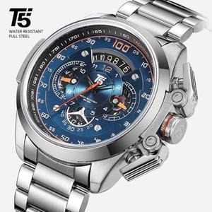 T5 Marca de luxo Black Gold Relógio Masculino Militar Quartz Wrist Watch Sport Men Chronograph Waterproof Mens Relógios do esporte relógio de pulso