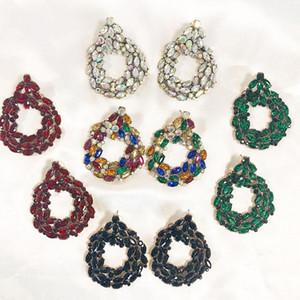 FASHIONSNOOPS New Rhinestone Brincos Mulheres casamento nupcial Brincos Declaração de jóia de cristal