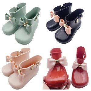 Enfants Chaussures Filles Bottes de pluie Mini Melissa Chaussures bébé Bows Jelly Bottes de pluie non-Slip princesse Short Bottes enfants gelée Bottes eau A6504